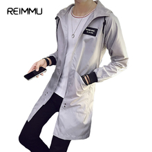 Reimmu Mens Long Coat Plus Size 5XL Fashion Mens Trench Coat Male Jacket Male Famous Brand Clothing Casual Men Trench Coat Sale