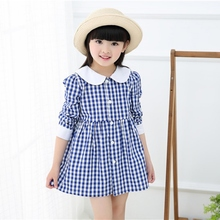 New Kids Girl Plaid Casual Long Sleeve Dresses Newborn Infant Spring Classic Clothes Blue Red