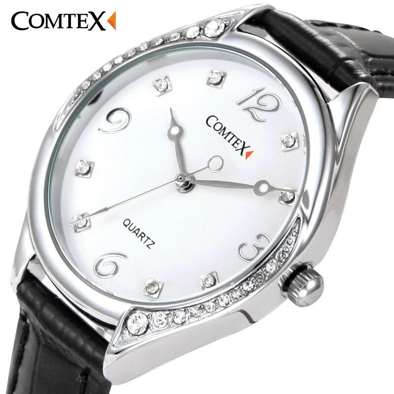 Comtex fashion watch Black White Leather Band women watch Stainless Still Case Ladies wrist Watch Waterproof quartz wristwatches<br><br>Aliexpress