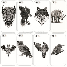 New Cool Style Animal Sketch Style Owl Wolf Hand Pattern Painted PC Hard Back Case Cover For iPhone5 5S MCA027
