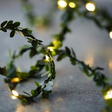 Waterproof 5M 50 LEDs leaf garland battery operate Copper LED fairy string lights for christmas wedding decoration party event