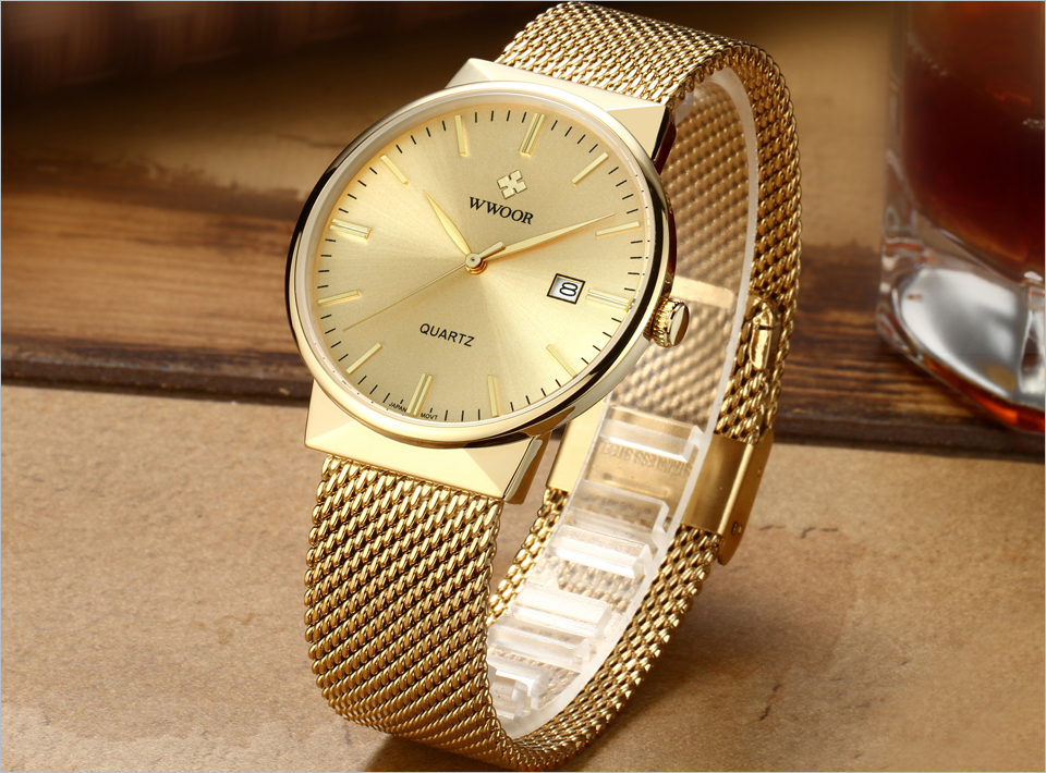 WWOOR Brand Luxury Men Waterproof Stainess Steel Casual Gold Watches Men's Quartz Sport Wrist Watch Male Clock relogio masculino 3