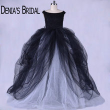 Vintage Black and White Wedding Dresses Tiered Court Train Ball Gown Puffy Bridal Gowns(China)