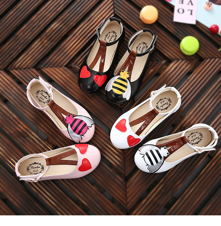 WENDYWU 2017 Girls Summer White cartoon love small bee Korean wild princess casual flat shoes breathable Non-slip<br>
