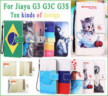 for Jiayu G3 G3S Case Eiffel Tower Butterfly Cat Kitty Fish Leather Case Cover With Stand Function case for Jiayu G3 G3T G3S G3C(China)