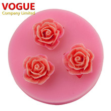 DIY Roses Flower Soft Silicone Mold Fondant Sugarcraft Cake Decorating Tools Mini N2252(China)