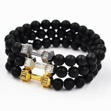 New 2017 Hot Fashion 1 PC Motivation Stone Bracelet Gym Charm Black Matte Fit Life Chic Dumbbell Crossfit Fitness
