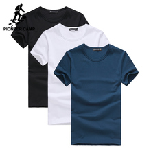 Pioneer Camp Pack of 3 promoting short sleeve t-shirt men brand clothing summer solid t shirt male casual Tees(China)