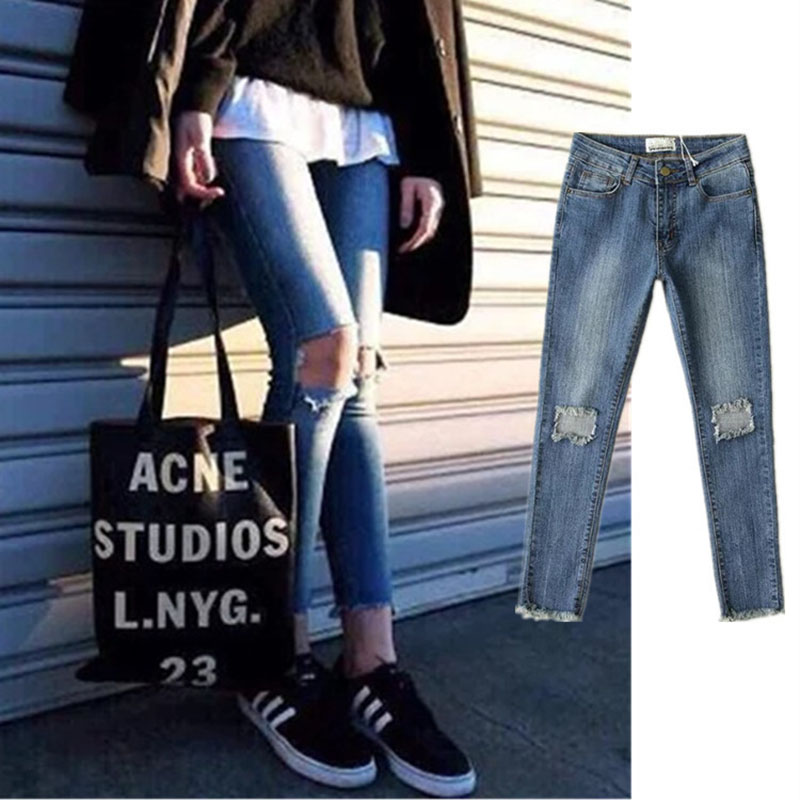 Knee hole washed empire distressed skinny ankle-length pants 2017 spring womens new pencil jeansОдежда и ак�е��уары<br><br><br>Aliexpress