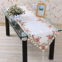 Hot Sell Polyester 40*200cm Floral Runner Embroidery Table Cloth Embroidered Tablecloth Covers Cutwork Hand Free Shipping TCE04