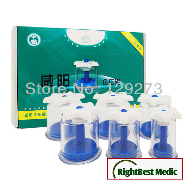 WEIYANG Twist Top Magnetic Cupping Set - 6 cups Cupping Massage Magnetic Therapy Home Healthcare<br>