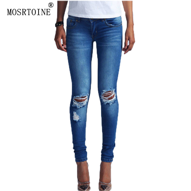 MOSRTOINE Women Holo Jeans 2017 Spring Autumn Casual Ripped Washed Bleached Fashion With Zippers Botton For Girls Jeans NewОдежда и ак�е��уары<br><br><br>Aliexpress