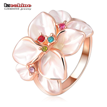 LZESHINE Fashion Jewelry Flower Ring With Rose Gold Color Austrian Crystal Black Enamel Flower/Wedding Ring For Women Ri-HQ1006(China)