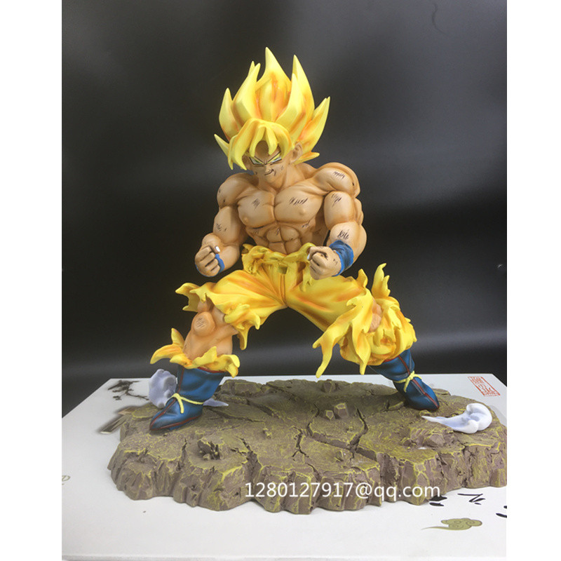 Dragon Ball Son Goku Resin GK Statue Super Saiyan2 Figure Battle Damage Form Toy