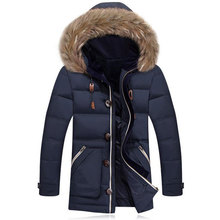 Men Down Parka Duck Fashion Design Faux Fur Down Jacket Leisure Hombre Invierno Average 1.3KG/pcs Thicken Long Section Outwear