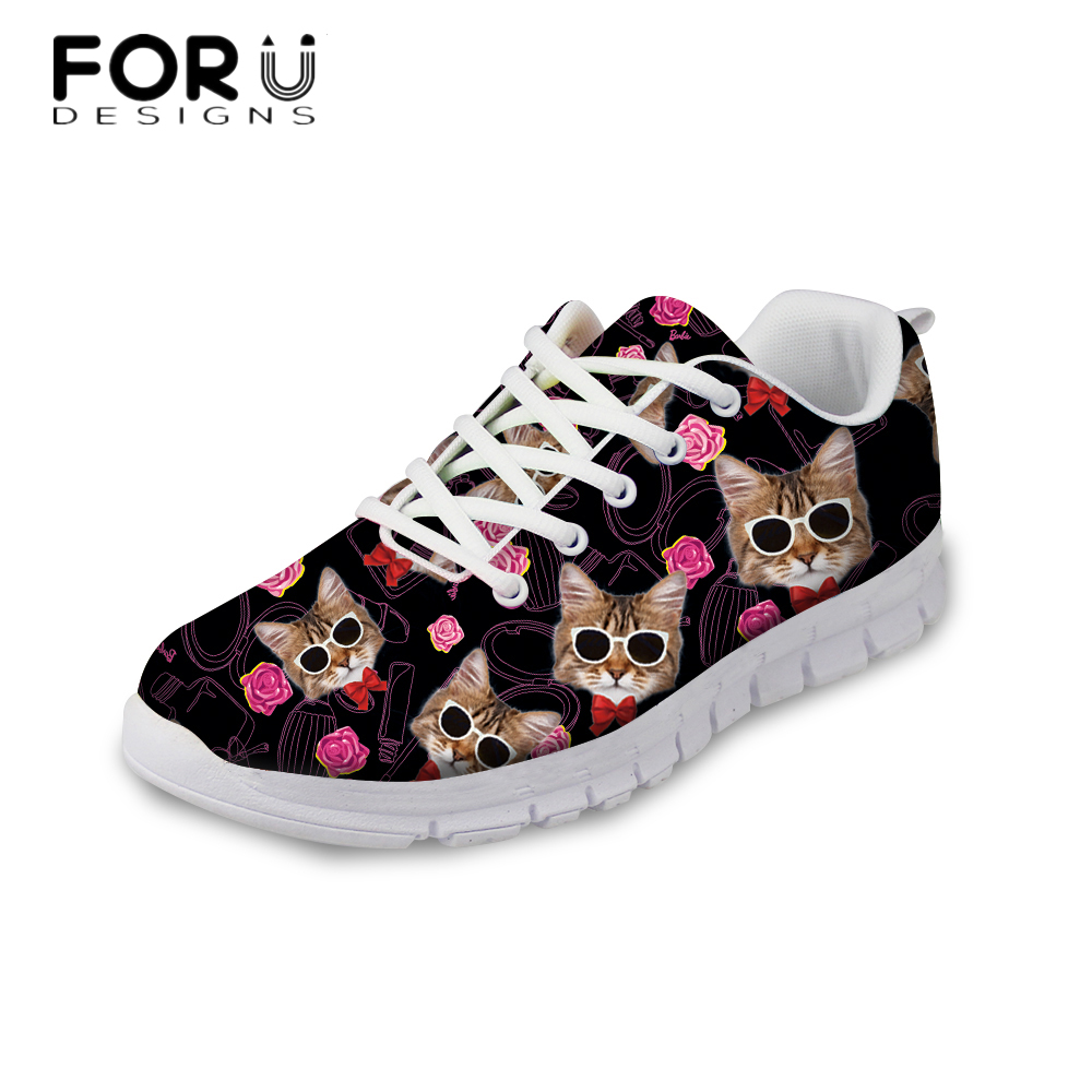 FORUDESIGNS Autumn Women Casual Flat Shoes Cute Animal Cat Pattern Breathable Mesh Shoes Flats for Women Lace-up Ladies Shoes <br>
