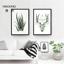 HAOCHU Abstract Animals Antelopes Flowers Aloe Posters  Prints Nordic Wall  paintings Wall Pictures for home living room Office