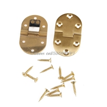 2Pcs Solid Brass Butler Tray Hinge Round Folding Edge xFlaps With 12 Screws(China)