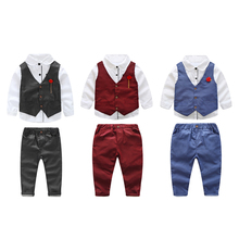 Buy 3pcs Fashion Gentleman Baby Boy Clothes Children Clothing Set Kids Boys Formal Party Clothes T-Shirt+Vest+Pants Sets Outfits for $15.05 in AliExpress store