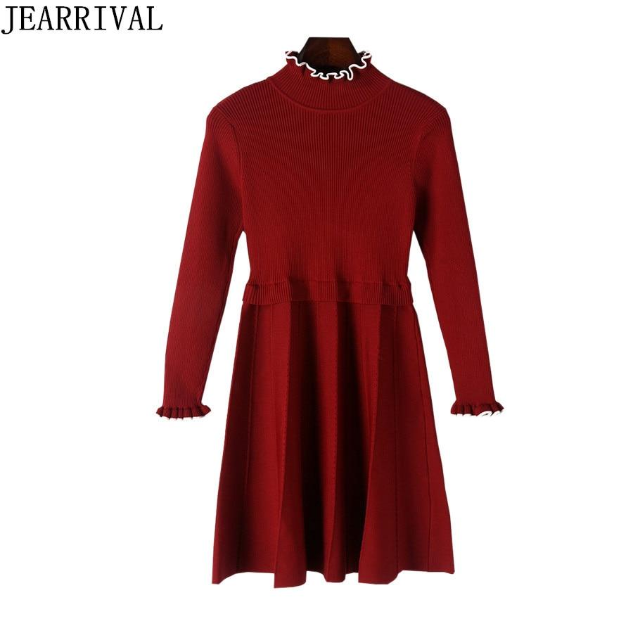 2017 New Women Winter Dress Elegant Long Sleeve Turtleneck Casual Pleated Black Red Knitted Sweater Dresses Vestido De FeatsÎäåæäà è àêñåññóàðû<br><br>