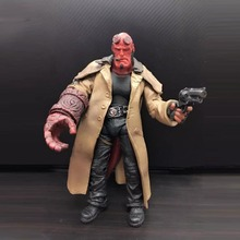 "Hellboy Mezco HB 7"" SERIES 2 Smoking Damage Figurine PVC Action Figure Resin Collection Model Toy Gifts In Box"