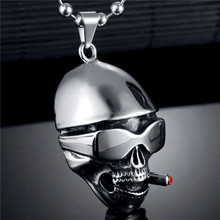 2017 Punk Rock Stainless Steel Skull Pendant Necklace Retro Skeleton Pendant Chain Necklace For Men Party Gift