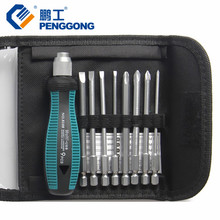 "PENGGONG Screwdriver Set 1/4"" 6.35mm Phillips Bits Set With Magnetic Multi Tools Electronic Repair Hand Tools Kit 9 Pcs(China)"