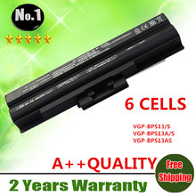 Wholesale new 6cells laptop battery VGP-BPL13 VGP-BPS13A/B FIT FOR SONY VAIO VGN  VPC  VGN-FW  VGN-SR SERIES  FREE SHIPPING