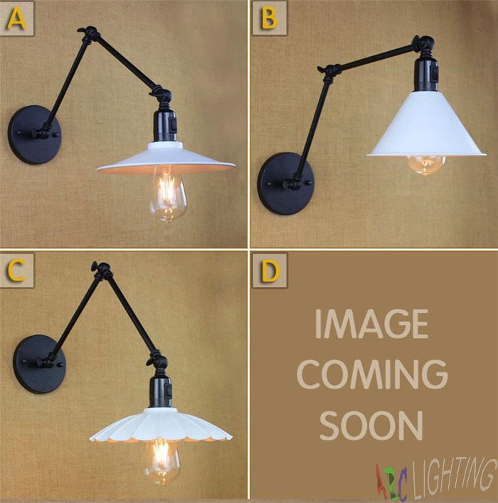 Loft Industrial adjustable arm Metal Cover Corridor lamp White Iron Lampshade Wall lamp Fixture with switch on off sconces<br><br>Aliexpress
