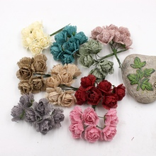 6pcs Rural Linen Rose Artificial Handmade Flower For Wedding Party Home Festive Decoration Marriage Flores DIY Craft Flower