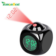 LemonBest Digital Projection Alarm Clock Cube LED Desk Clock LCD Display with Backlight Support Current Time Report(China)