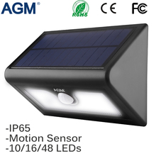 AGM LED Solar Power Light Wall Lamp Garden Outdoor Waterproof PIR Motion Sensor Solar Luminaria Panel Sunlight Energy Path Light(China)