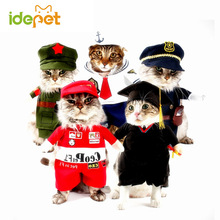 Funny Cat Clothes Pet Costume Nurse Policeman Suit Clothing For Cat Halloween Costume Pet Cat Clothes Uniform Hat Suit 25S1(China)