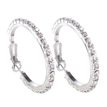 New Big Round Silver Hoop Earrings for Women Earring Copper Stainless Steel With CZ Inlaid Zirconia Crystal Fashion Jewelry Gift