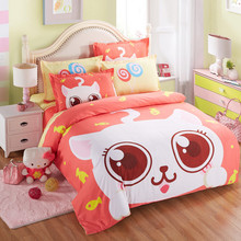 Home Textile Kawaii Cotton Bedding Set Cartoon Orange Rabbit Bed Set for Kids/adult 4pcs Twin Full Queen King Size Free Shipping
