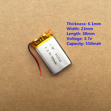 1PCS 612338 3.7V 550mah Lithium polymer Battery With Protection Board For MP3 MP4 MP5 GPS Glass Digital Product Free Shipping