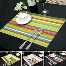 4PCS/Lot Heat Resistant PVC Kitchen Dinning Stripe Table Placemats for Table Mat Manteles Doilies Cup Mats Coaster Pad 45*30cm(China)