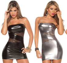 Women dress latex faux Leather dresses Club lace clothing sexy Mini Ladies Clubwear see through Girl clothes(China)