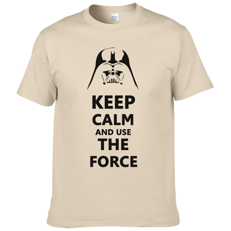 2016 New Star Wars Darth Vader t shirt men shirt Keep Calm awakens Use THE FORCE emoji tshirt homme funny t shirts boy #025