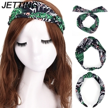 JETTING 1pcs Rabbit Ears Hairband Rabbit Ears Hair Bands Women Girls Floral Fabric Butterfly Bow Hair Hoop Hair Accessories(China)