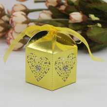 KAZIPA 50pcs Laser Cut Love heart Gift Candy Cake Favor Boxes Decoration Box for Wedding Party Favor Shining Gold Color