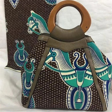 New Wax Printed Hand Bag with nice PU leather + Super real wax print one piece of 6yards  BG1024