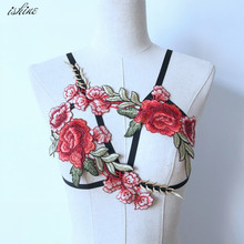 Embroidery Sexy Pastel Goth Lingerie Harness Bra Cage Underbust Bondage Harness Belt Women Party Carnival Wear Body Femme