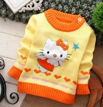 20147Special offer fashion hello kitty star o-neck long sleeve cartoon character patchwork baby clothing sweaters free shipping