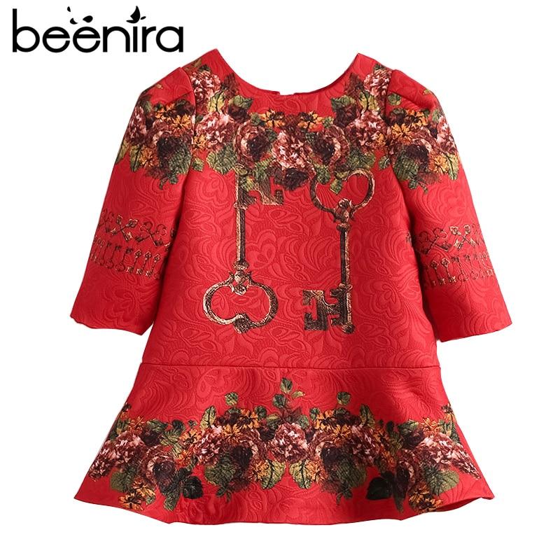 Beenira Children Princess Dress 2017 New Brand European And American Style Kids Embroidery Pattern Dress Girls Autumn Dress Coat<br>