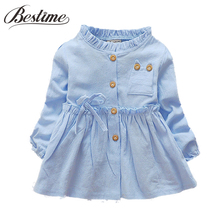 Fashion Infant Clothes Toddler Baby Girls Dress Ruffles Cotton Long Sleeve Infant Dress Autumn Baby Clothing(China)