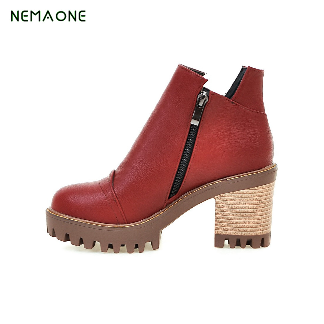 NEMAONE Autumn spring female ankle boots with cut outs square heels round toe platform pu soft leather women fashion boots<br>