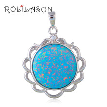 Maxi Necklaces jewellery Round Flower Green Fire Opal Sterling Silver Pendants Australia Zirconia Fashion jewelry OP597(China)
