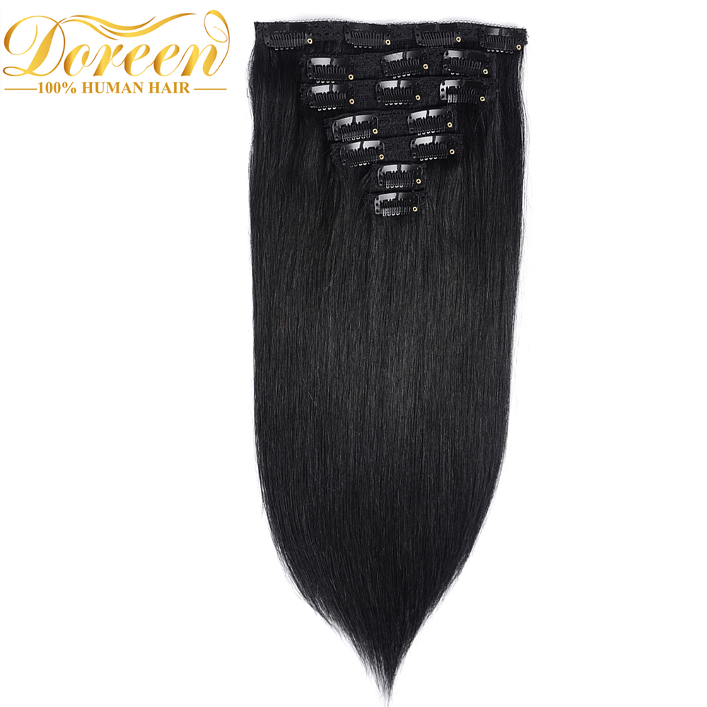 Doreen Remy Human Hair Clips In Extension 120 7pieces Full Head Set #1 Jet Black Brazilian Natural Straight Hair Clip Ins(China (Mainland))