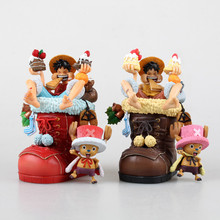 NEW hot 11cm One piece luffy Tony Tony Chopper Christmas shoes action figure toys Christmas gift(China)